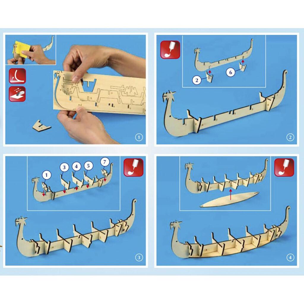Viking hajómakett építőkészlet Gyerek kitt